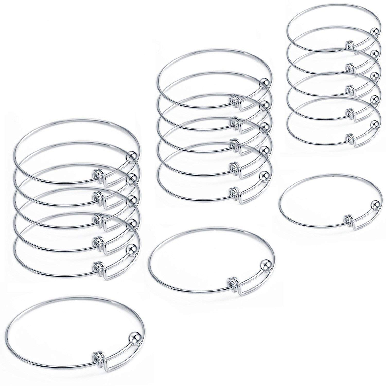 18 Pcs Stainless Steel Expandable Wire Blank Bangle celet for Womens A Wire Blank Diagram on