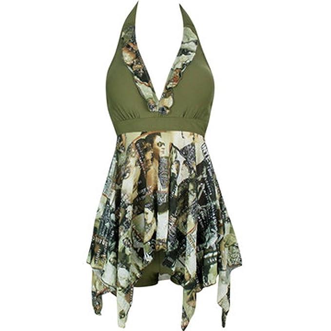 Forlisea Womens Plus Size Halter Tankini Swimwear Swimsuit 2 Pieces US 3XL/Asian 6XL Black