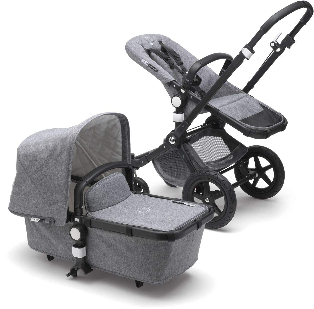 Bugaboo Cameleon3 Plus Classic Complete Stroller, Black/Grey Melange - Versatile, Foldable Mid-Size Stroller with Adjustable Handlebar, Reversible Seat and Car Seat Compatibility by Bugaboo