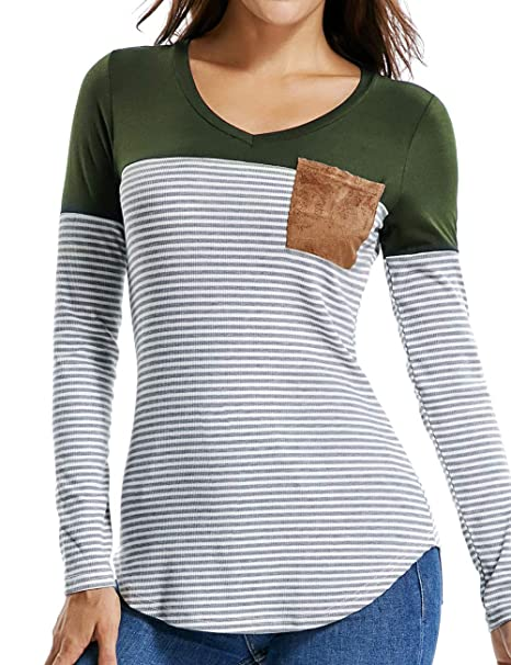9d68a078f47 Women's Casual T-Shirt Striped Tunic Color Block Tops V Neck Long Sleeve  Tees Knitted