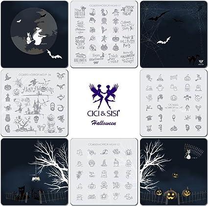 CICI&SISI Juego de plantillas de sellos para manicura, diseño de terror, acrílico, 4 unidades: Amazon.es: Belleza