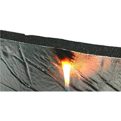 "Elfin Hood-Liner 55"" x 32"" x 3/5"" Thick Fireproof Self-Adhesive Automotive Insulation Foam Sound Deadening Mat- Aluminum Foil Face: Automotive"