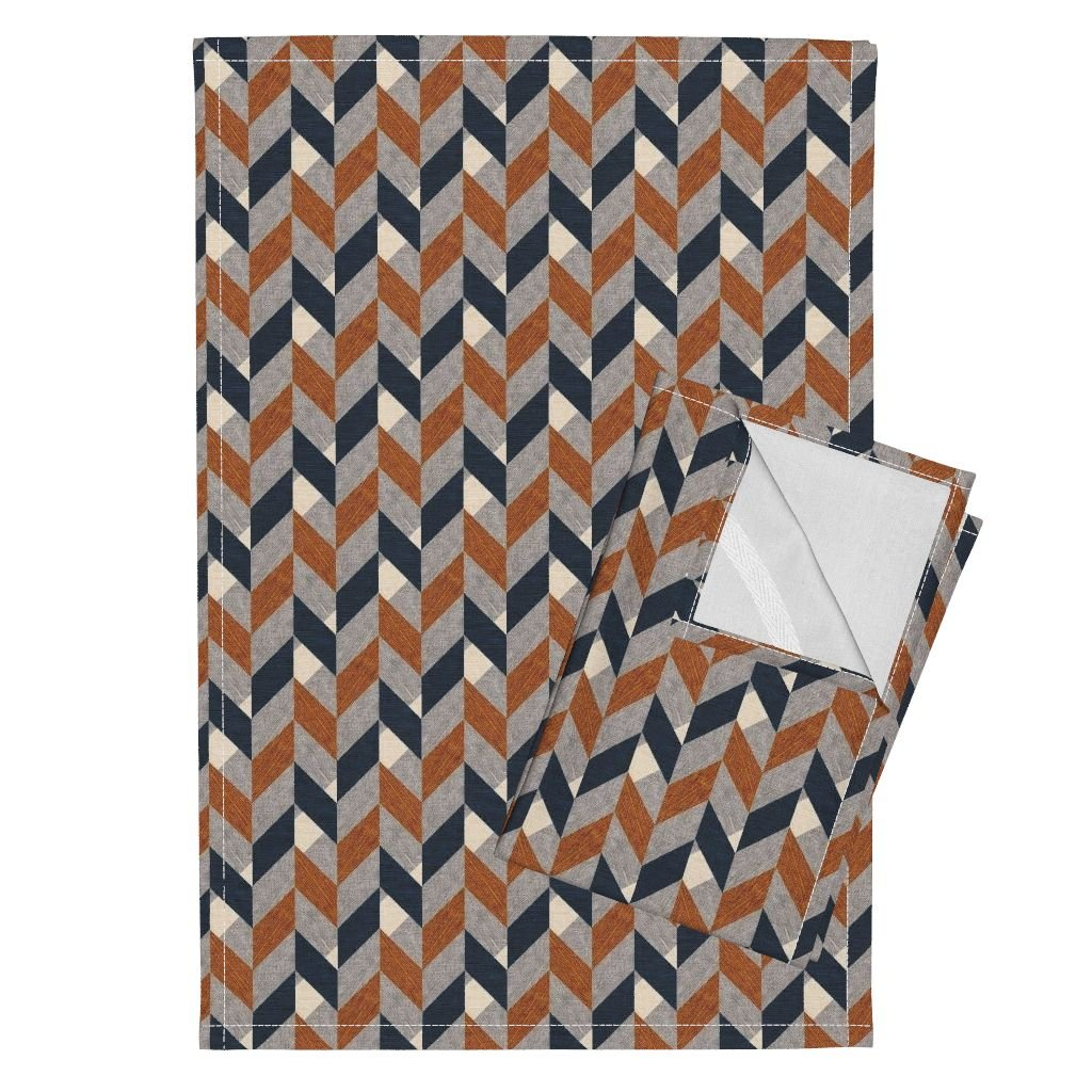 Lumber Jack Man Woodgrain Wood Timber Parquetry Woodwork Tea Towels Parquetry (Small) by Nouveau Bohemian Set of 2 Linen Cotton Tea Towels
