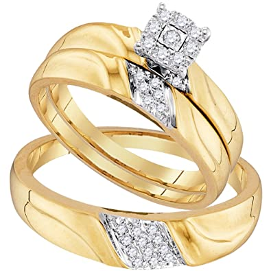 10kt yellow gold trio set his her rings diamond solitaire matching bridal ring band set - Wedding Ring Bands For Her