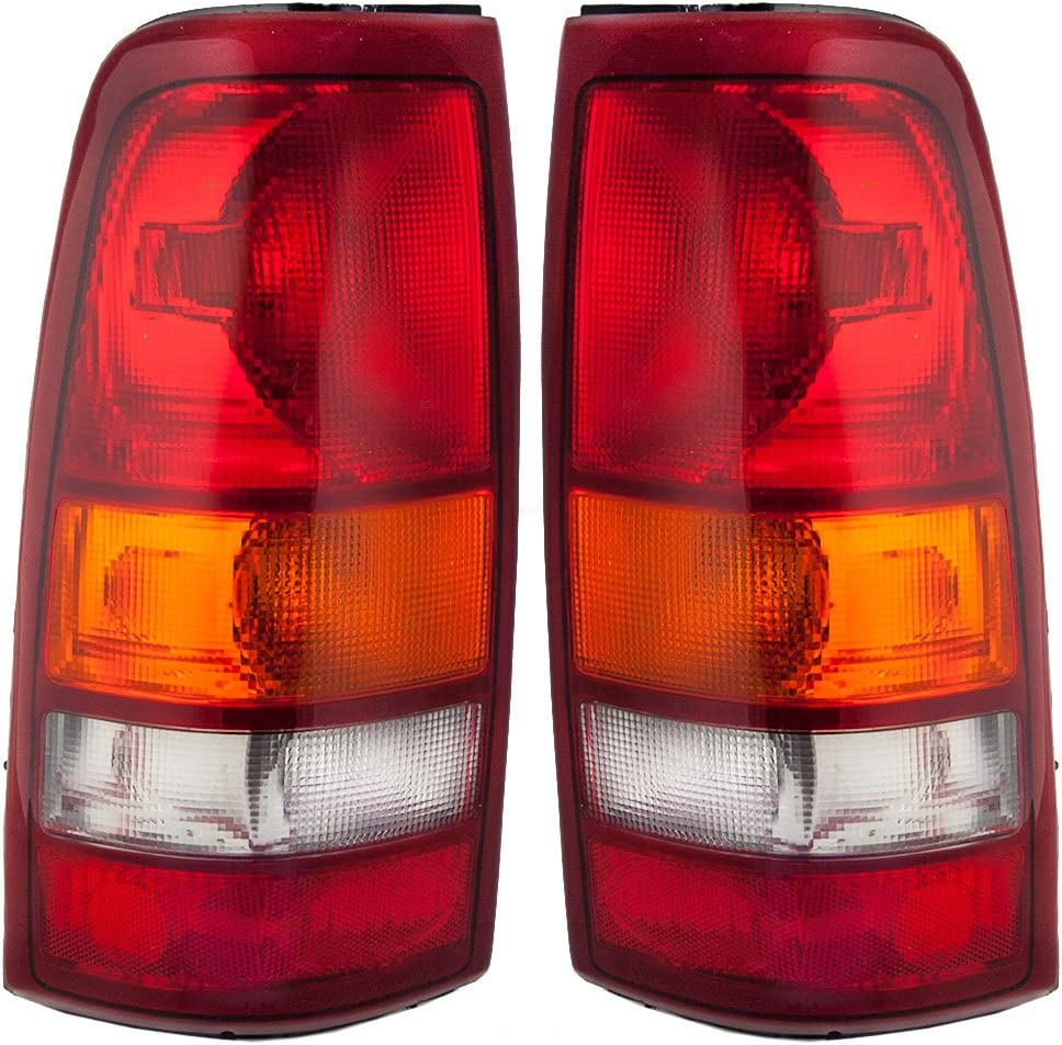 Aftermarket Replacement Driver and Passenger Set Tail Lights Compatible with 1999-2002 Silverado Sierra 1500 2500 Fleetside Pickup Truck