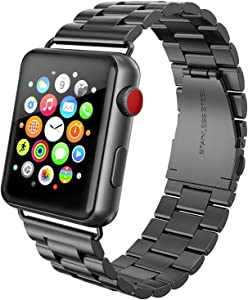 FanTEK Band Compatible for Apple Watch 42mm / 44mm, Stainless Steel with Metal Clasp Strap Wrist Band Bracelet Replacement for Apple Watch Series 1 2 3 4 5 iWatch, Black