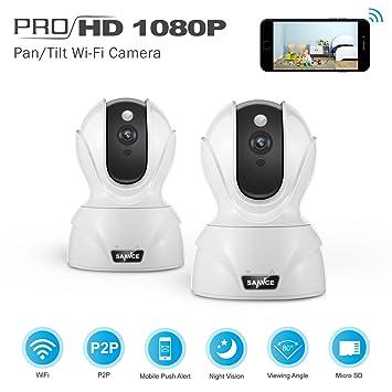 SANNCE Cámara de Seguridad 1080P IP Camera WIFI Visión Nocturna con Detección de Movimiento y Audio Bidireccional: Amazon.es: Electrónica