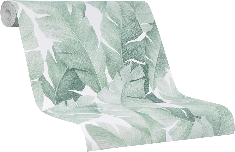 Marburg 31650 - Papel pintado, color blanco y verde