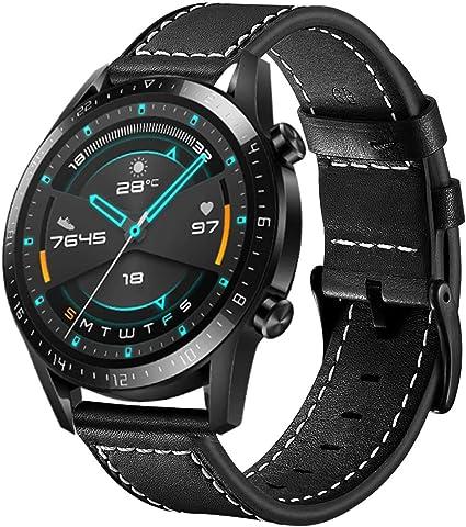 Imagen deSPGUARD Pulsera Compatible con Correa Huawei Watch GT2 46mm Correa Huawei Watch GT 2e, Correa de Repuesto de Cuero con Hebilla de Liberación Rápida para Huawei GT 2 46mm/Huawei Watch GT 46mm