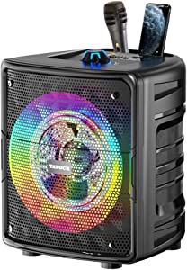 TANOCH Portable Karaoke Machine for Kids & Adults, Bluetooth Speaker with Wired Microphone for Party, Wireless PA Sound System with FM Radio, Audio Recording, TF/USB Supported Christmas Gift…