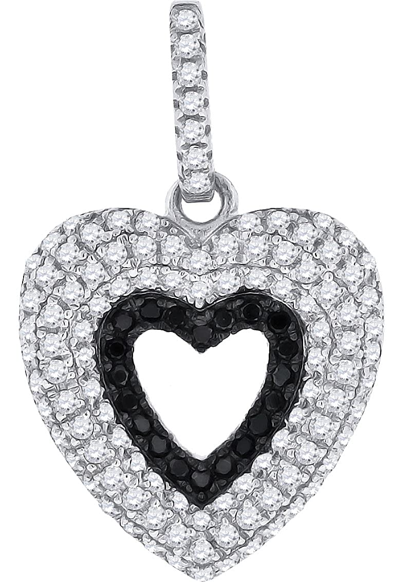 Jewels By Lux Sterling Silver Womens Round Cubic Zirconia CZ Open Heart Fashion Pendant Set With The Highest Quality Cubic Zirconia.