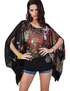 Women Loose Batwing Sleeve Floral Chiffon Caftan Poncho Tunic Top Beach Kimono