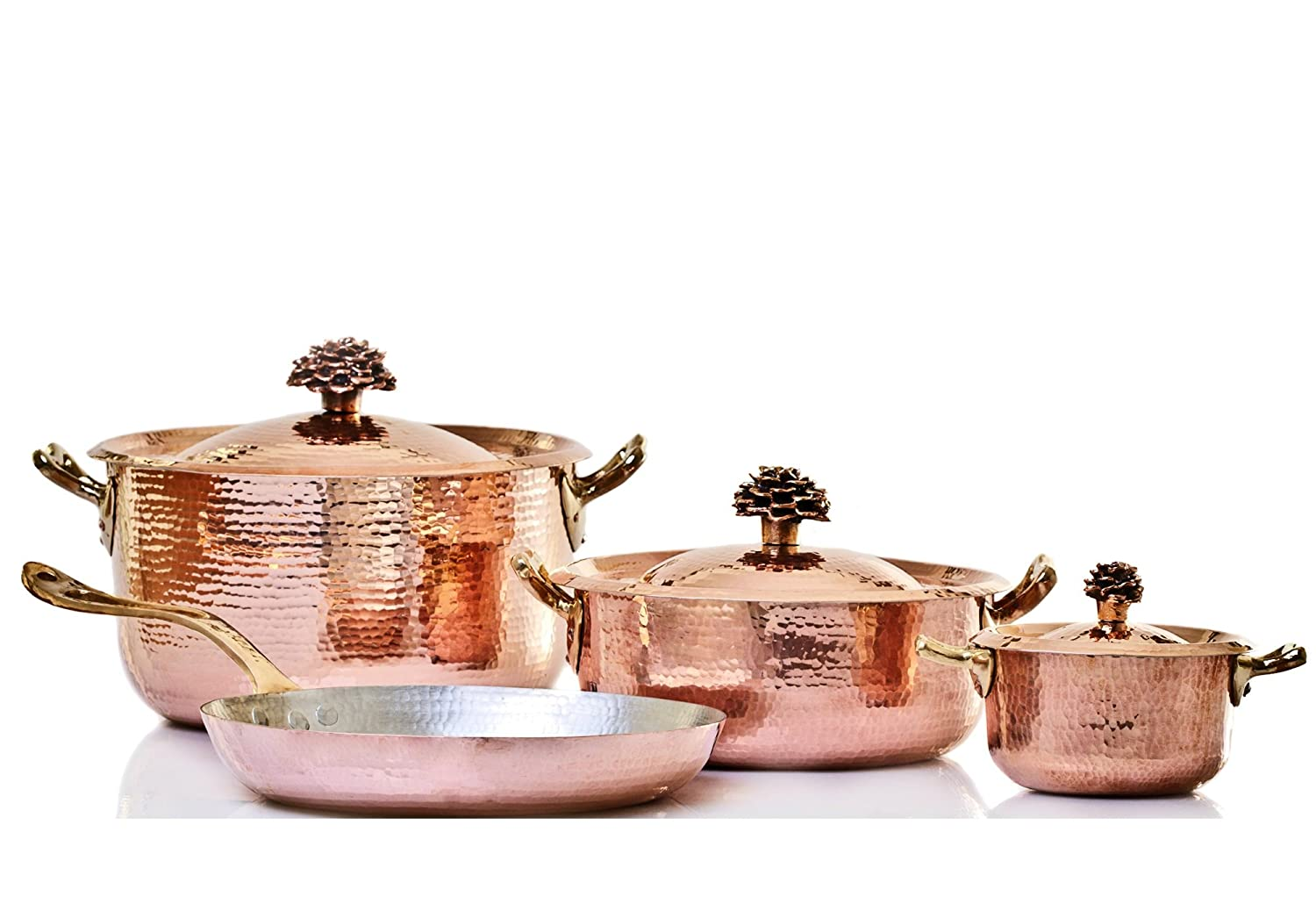 Amoretti Brothers Hammered Copper Cookware, 7 Piece Set