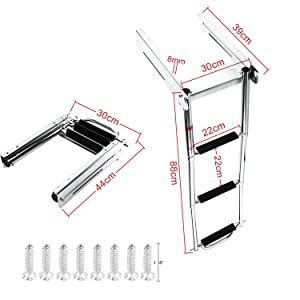 DasMarine 3 Step Ladder Under Platform Sliding Ladder Stainless Steel 316 Spring Loaded Latch with a Carry Handle (3 Step Ladder)