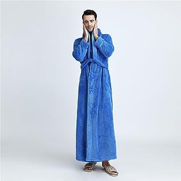 YAN Toalla para Hombre de Lujo Franela Batas de baño Bata de casa + cinturón,