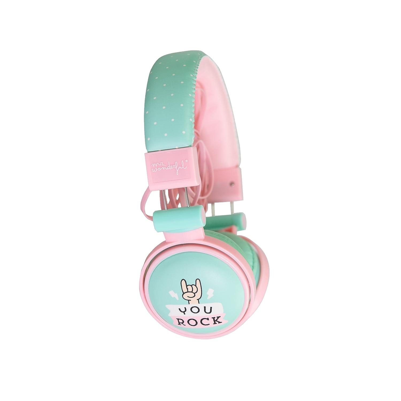 Mr Wonderful MRAUR002 - Auriculares de Diadema Cerrados (micrófono, 3.5 mm, tecla de Llamada), Color Verde y Rosa