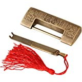 Brass Antique Chinese Old Style 5cm Spacing Deliacted Carved Jewelry Box Padlock with Key