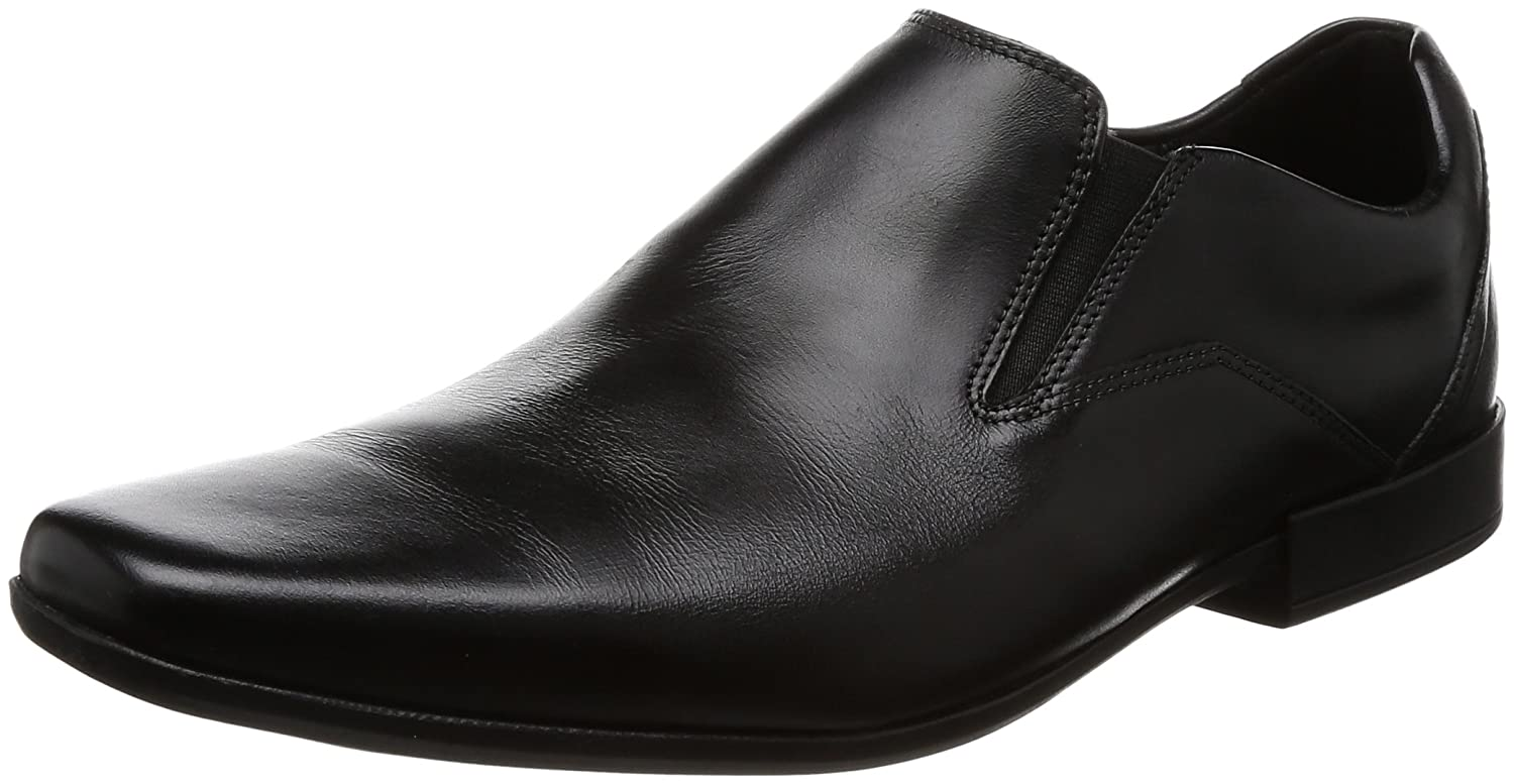 Clarks Glement Slip, Mocasines para Hombre 45 EU|Negro (Black Leather -)