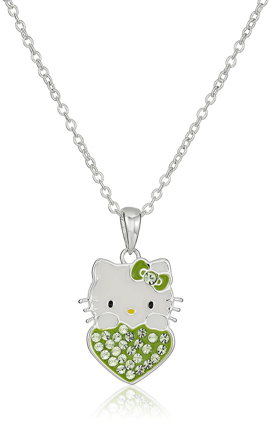 1c9e4ebc3 Amazon.com: Hello Kitty Girls August Crystal Birthstone Heart Pendant  Necklace, 18