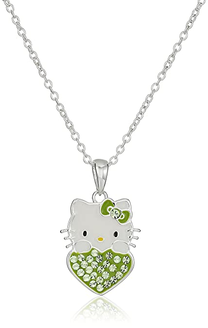 """bf80248fd Hello Kitty Girls August Crystal Birthstone Heart Pendant Necklace, 18"""""""