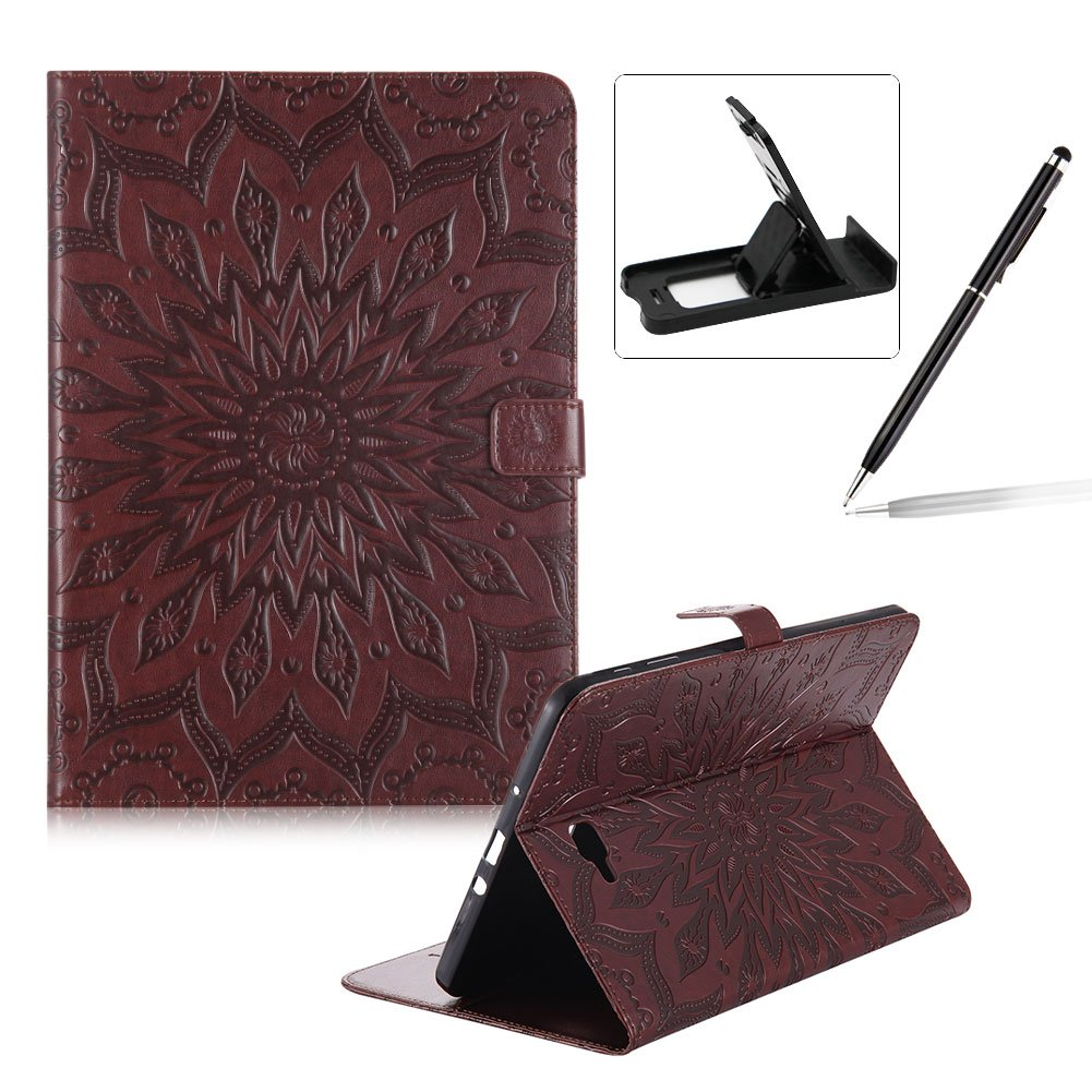 Wallet Case for Samsung Galaxy Tab A 10.1 T580,Flip Pu Leather Case for Samsung Galaxy Tab A 10.1 T580,Herzzer Classic Elegant [Green Mandala Flower Pattern] Stand Function Magnetic Smart Leather Case with Soft Inner for Samsung Galaxy Tab A 10.1 T580 + 1