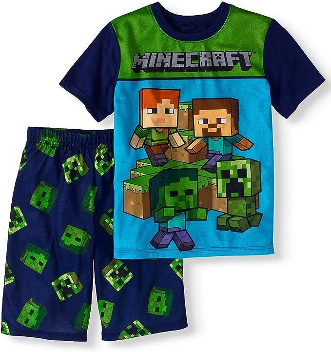 Tod Minecraft Pyjamas with Creeper and Pixel Sword 2 Piece PJ Set for Children