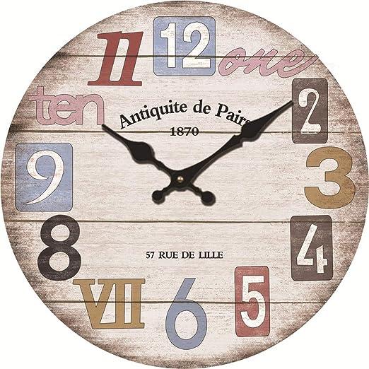 SYT Wall Clock Reloj de Madera de la casa de la Sala de Estar del ...