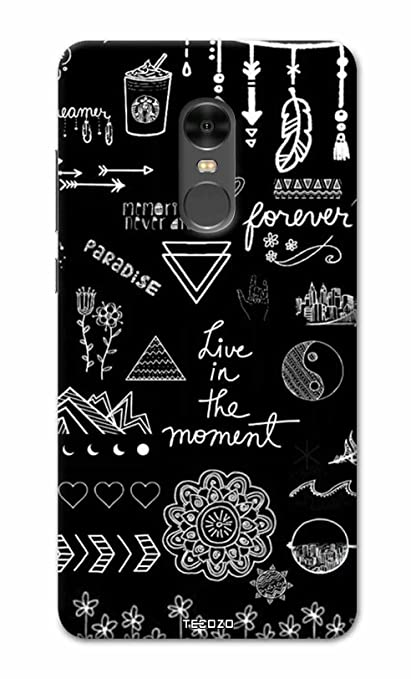 sale retailer 914dd 93c59 PICWIK® Designer Printed Back Cover/Hard Case for Xiaomi Mi Redmi Note 4  (Live in The Moment Design/Quotes) - Black
