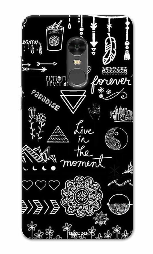 sale retailer c7e97 2148a PICWIK® Designer Printed Back Cover/Hard Case for Xiaomi Mi Redmi Note 4  (Live in The Moment Design/Quotes) - Black