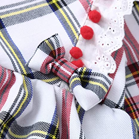 b3aebb7b7 Amazon.com: Tronet Infant Baby Girls Plaid Print Tassel Jumpsuit Romper  Bodysuit+Headband Outfits: Clothing