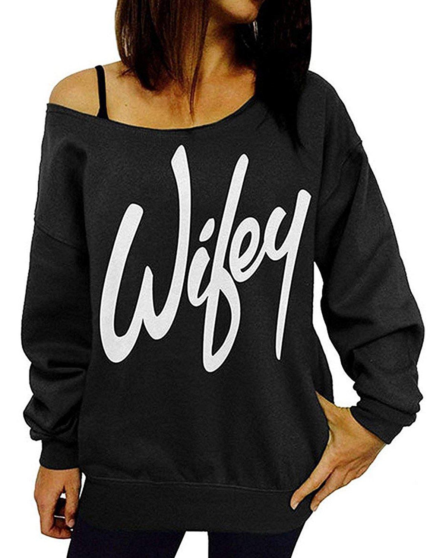 TWKIOUE Women's Sweatshirts Wifey Letter Print Slouchy Pullover Off Shoulder Sweatshirt B-Black 2XL