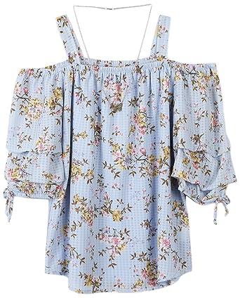 1382aca5ed4011 Amazon.com  Speechless Girls  Big Cold Shoulder Tiered Sleeve Top ...
