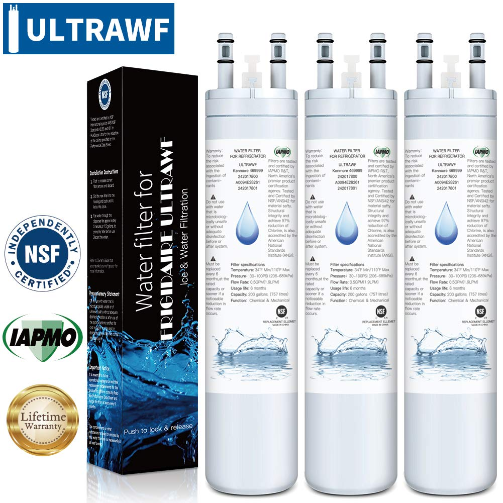 ULTRAWF Gallery Water Filter- Compatible with KENNMORE-469999, 242017800, PS2364646, A0094E28261, [IAPMO/WQA] Certified, pack of 3 Vimys