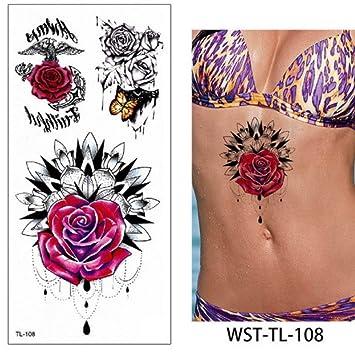 1 hoja rosa flor tatuaje pegatina tatuajes niñas flor tatuajes ...