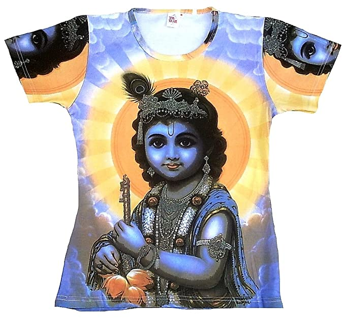 TICILA Camiseta de mujer azul Hindú Dios Lord Krishna wiedergeburt Avatar Psychodelic Goa Trance DJ Beach