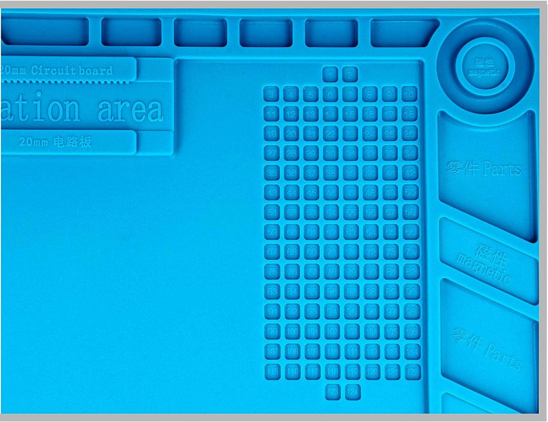 Minadax Antistatik XL ESD L/ötmatte 48 x 31.8cm Rutschfest Handgelenkschlaufe Silikonmatte 500/°C Hitzebest/ändige Reparaturmatte Handschuhe L/ötrauchabsauger