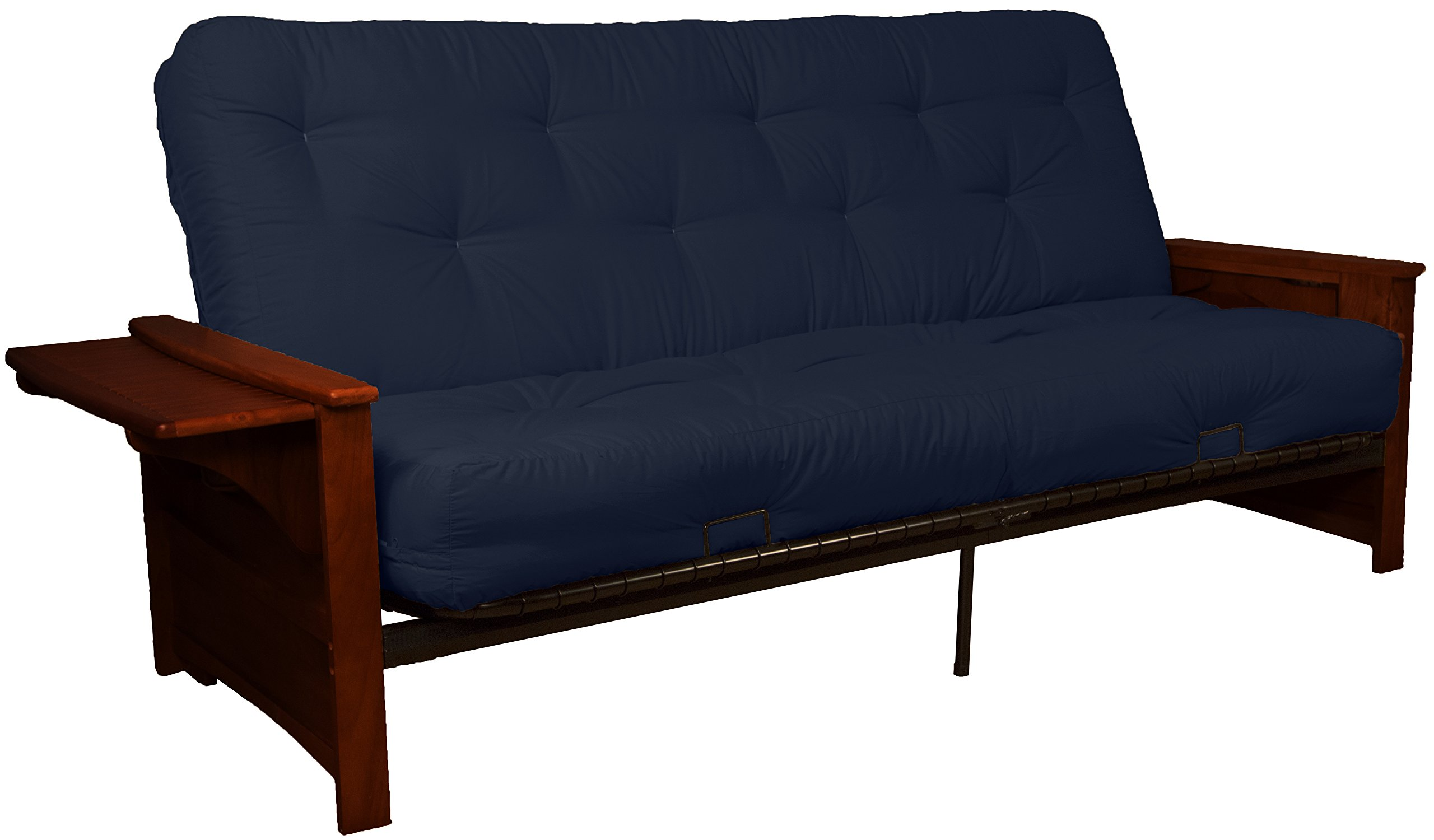 Valet Attached End Table Style 8-Inch Loft Inner Spring Futon Sofa Sleeper Bed, Queen-size, Mahogany Arm Finish, Twill Navy Blue Upholstery
