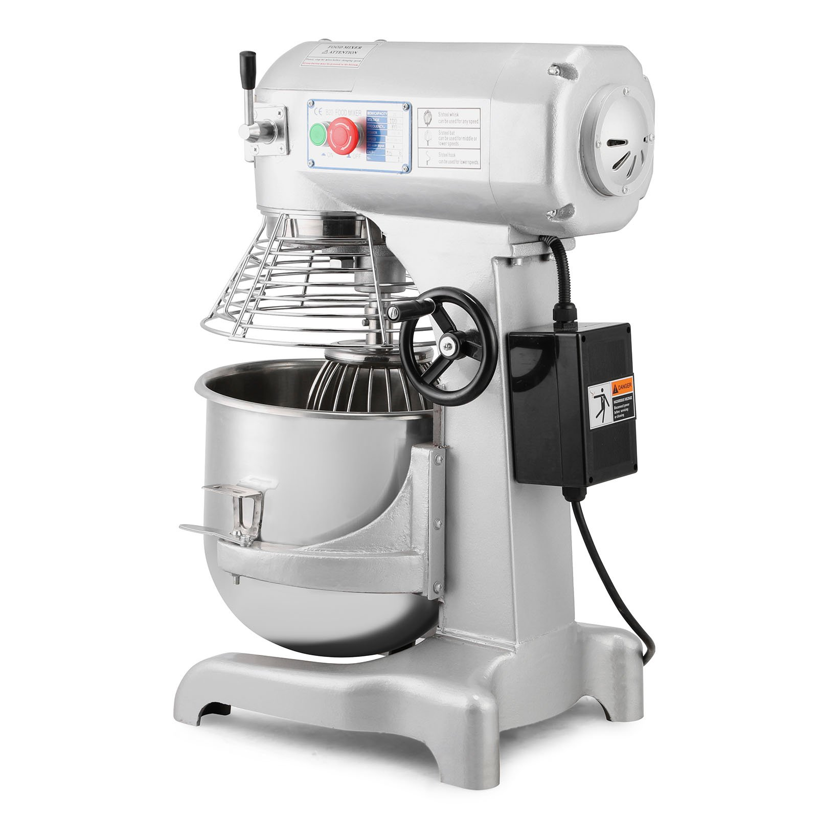 Happybuy Commercial Food Mixer 750W Dough Mixer Maker 3 Speeds Adjustable Commercial Mixer Grinder 94/165/386 RPM Stand Mixer (20 qt) by Happybuy (Image #3)