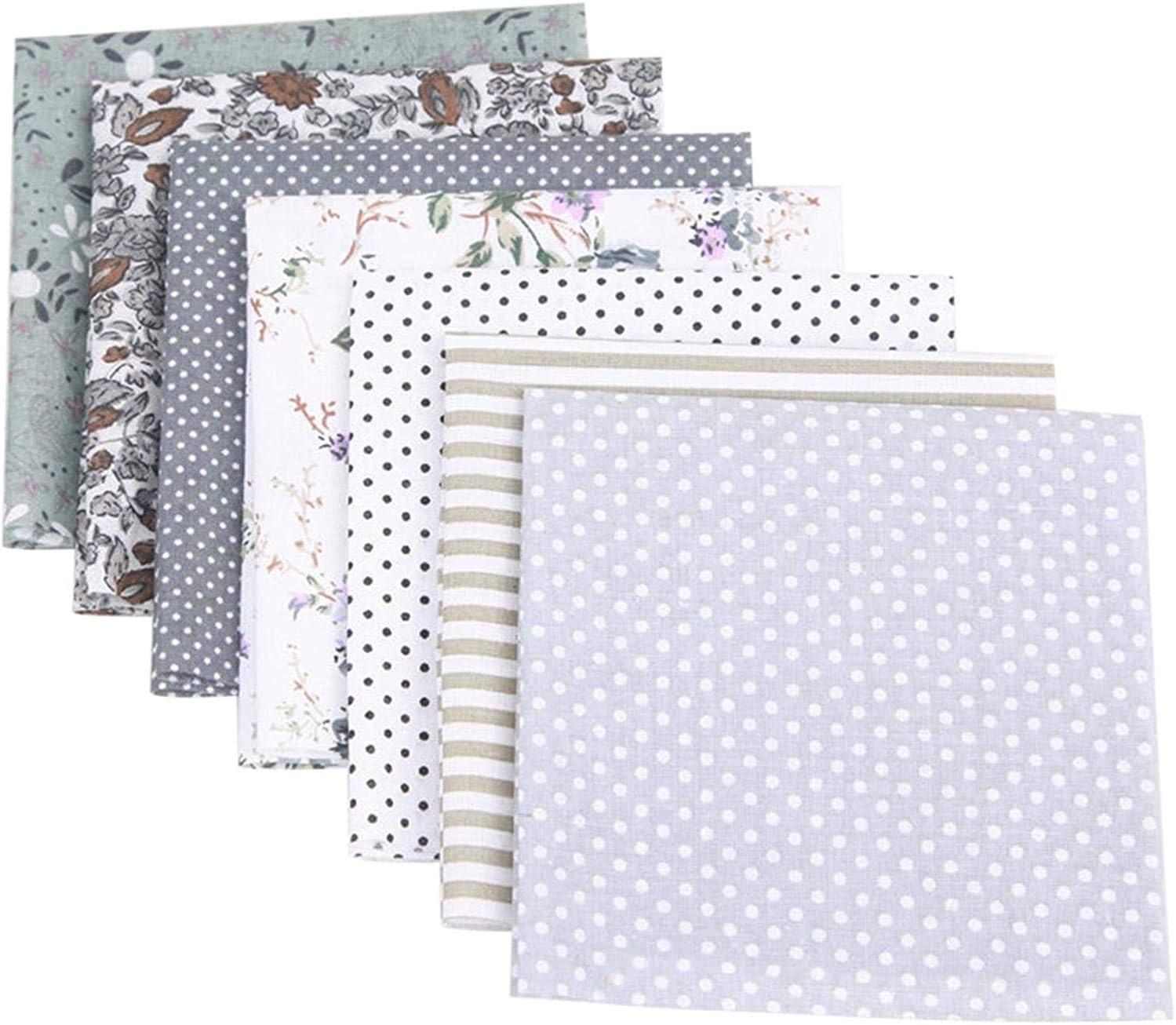 Cotton Craft Fabric Bundle Patchwork, 7pcs 19.6'' Cotton Fabric Squares Quilting Sewing Patchwork Different Pattern Cloths DIY Scrapbooking Artcraft (Gray)