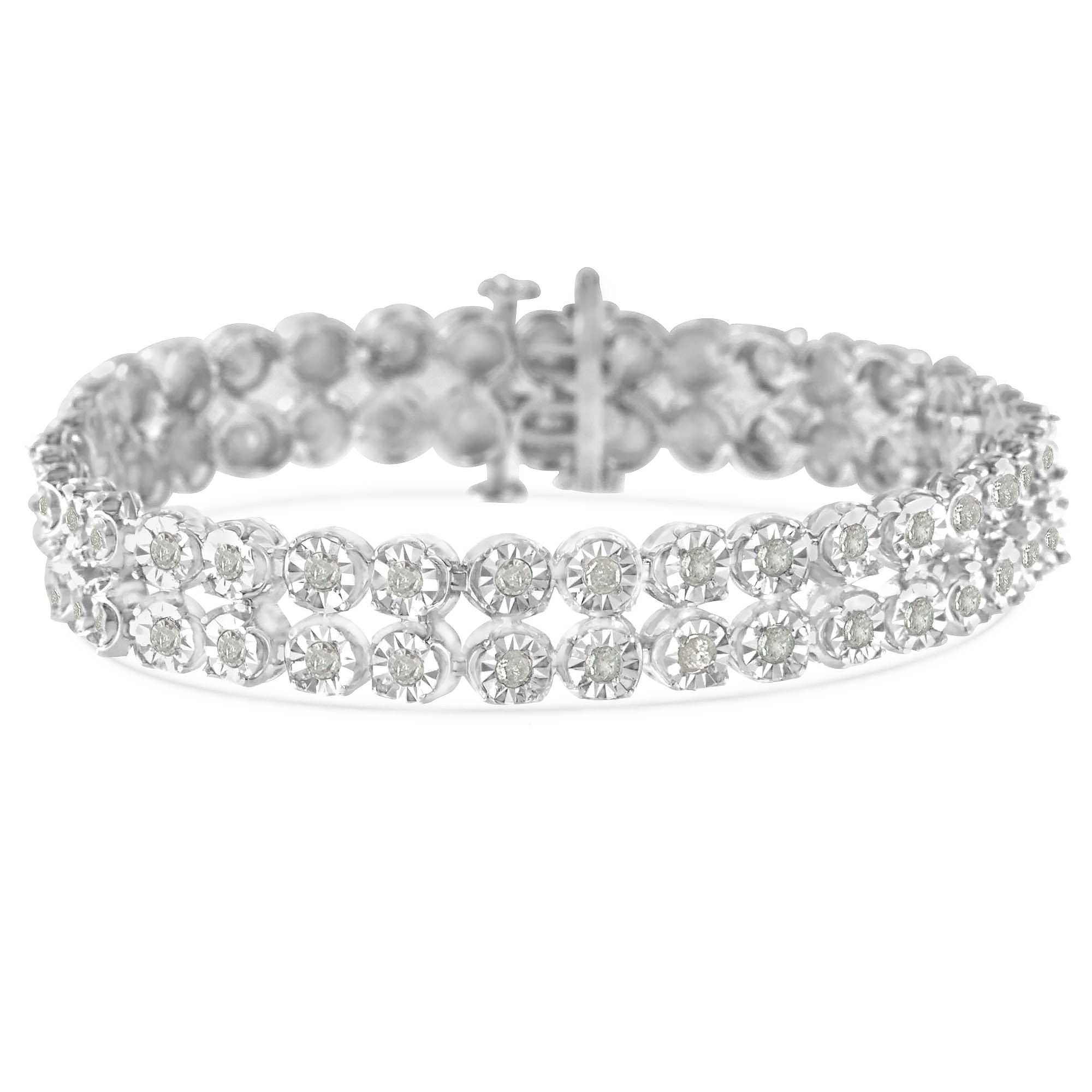 Original Classics Sterling Silver 2ct TDW Rose-Cut Diamond 2-Row Link Bracelet (I-J,I3-Promo)