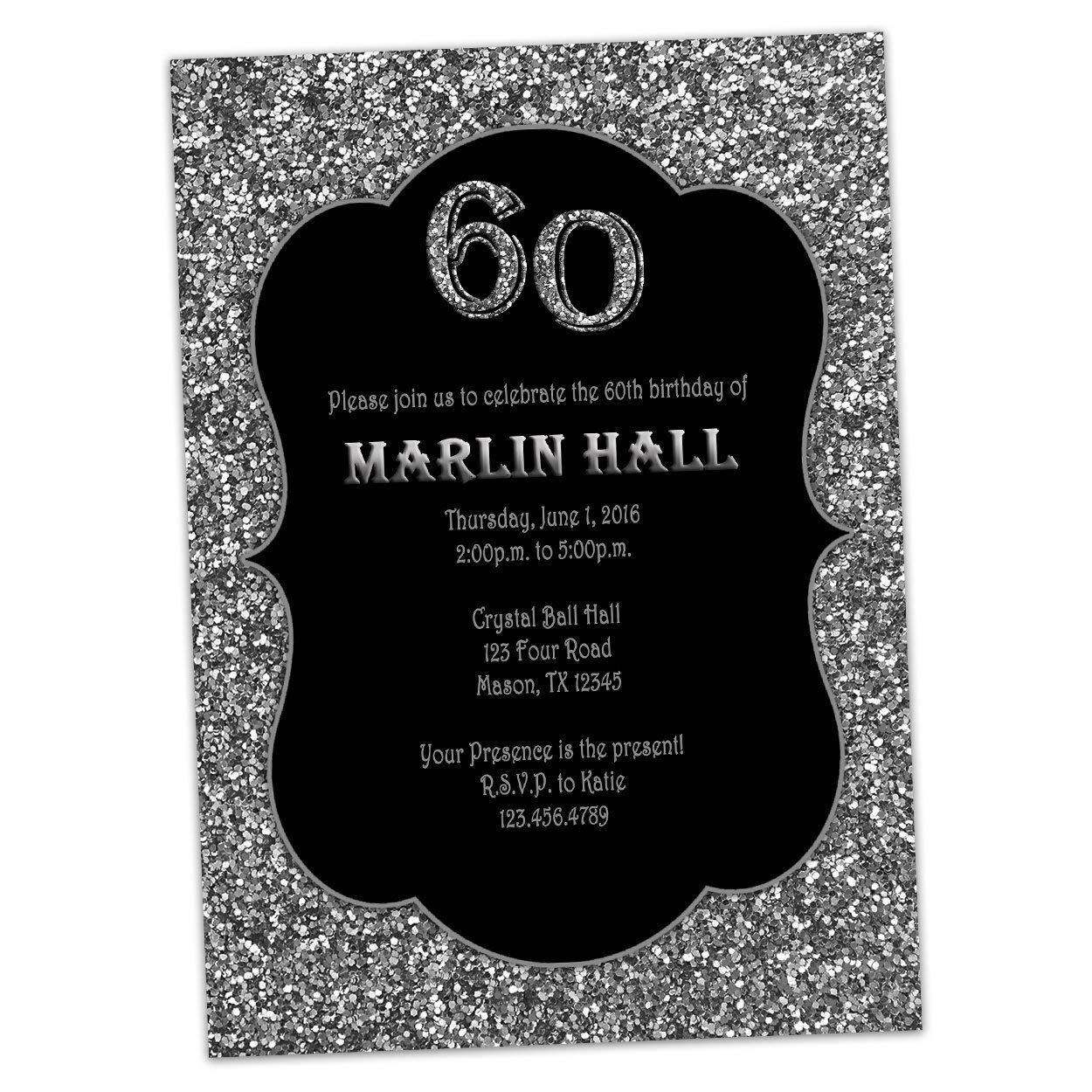 Amazon Silver Black Glitter Birthday Invitations Men Women 30th 40th 50th 60th 70th 80th Adult Handmade