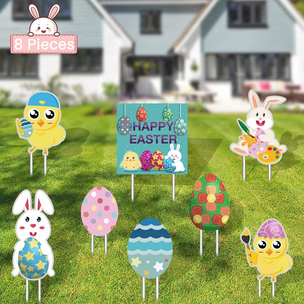 FUNNISM 8 PCs Easter Yard Signs Decorations Outdoor Bunny, Chick and Eggs Easter Lawn Decorations for Easter Egg Hunt Game, Party Décor, Easter Props, Yard Stake Signs