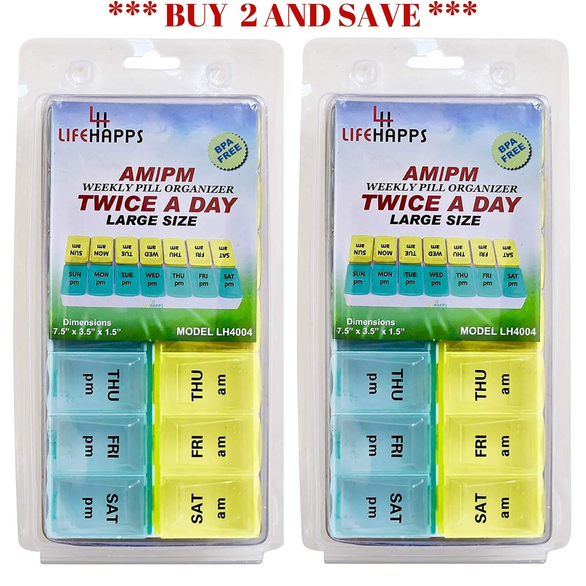Large Weekly Pill Box- 7 Day Am/Pm Daily Pill Organizer BPA Free by Lifehapps - (2 pack) Twice A Day 14 Compartment Storage Case, The Perfect Container For Vitamins, Supplements and Medications