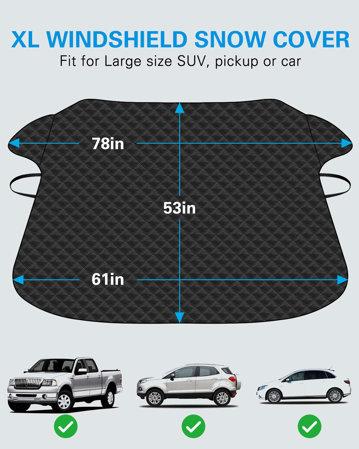 Winter Windshield Cover for Ice and Frost BUG HULL XL Car Windshield Cover for Snow Auto Snow Windshield Cover 61x53 Thickened Snow Covers for Car