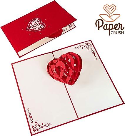 PaperCrush® Tarjeta Pop-Up Corazón 3D - Tarjeta de Boda hecha a ...