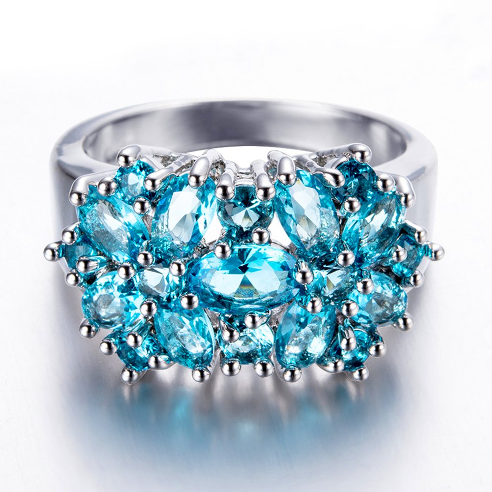 T-Ring Fashion Blue Flower Zircon White Gold Filled Jewelry Vintage Ring for Women Wedding Rings