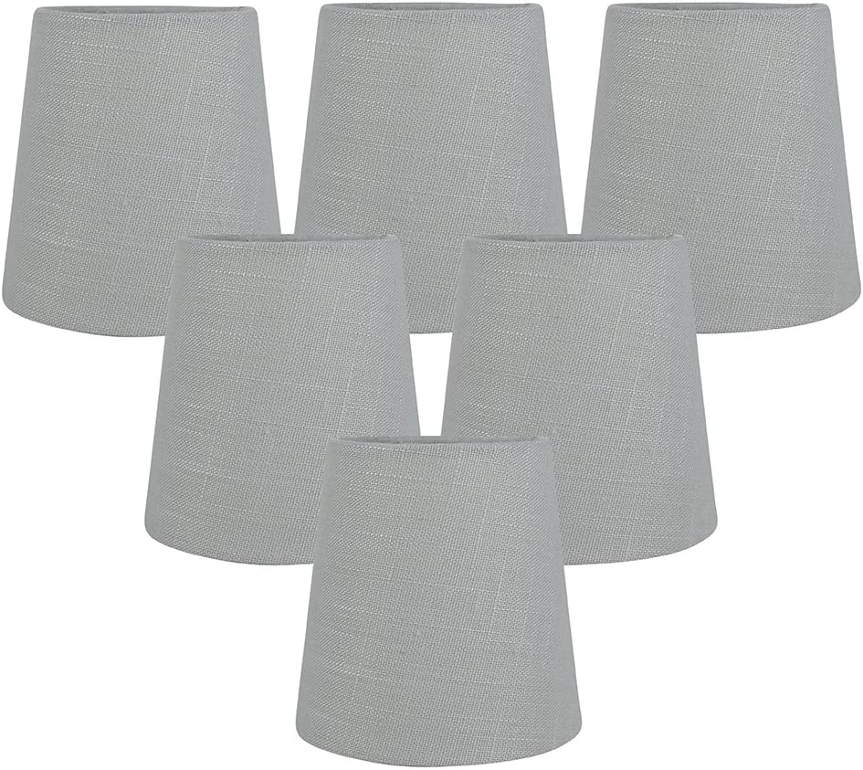 Meriville Gray Linen Clip On Chandelier Lamp Shades, 3.5-inch by 4.5-inch by 4.5-inch Gray, Set of 6