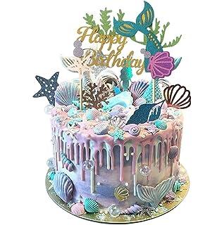 jevenis glitter mermaid cake topper happy birthday cake picks mermaid cake decoration for mermaid baby shower