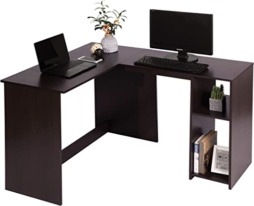 Corner Computer Desk L-Shaped Home Office Workstation Writing Study Table with 2 Storage Shelves, Espresso