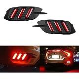 iJDMTOY JDM Fluid Style Red LED Rear Bumper Reflector, Rear Fog Light Kit For 2016-up Honda Civic Sedan (Excluding Hatchback)